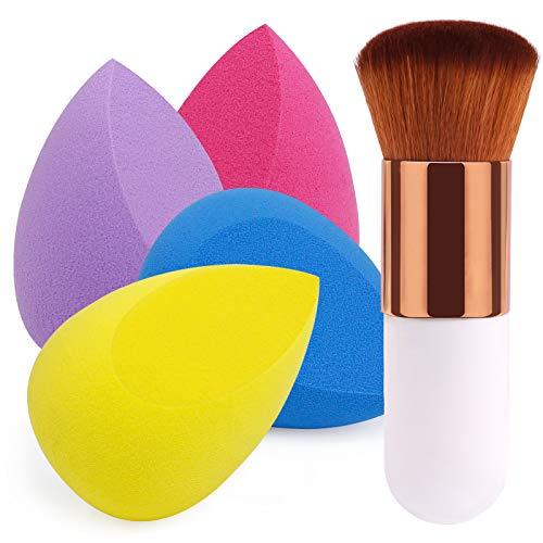 BEAKEY 4+1Pcs Makeup Sponges with Powder Brush, Foundation Blending Sponge for Liquid Cream and...