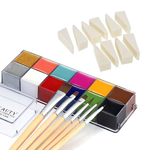 CCbeauty Professional Face Paint Oil 12 Colors Body Painting Art Party Fancy Make Up + 6 Brushes Set...