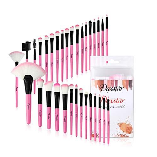 Daxstar Makeup Brushes 32pcs, Premium Pink Brush Set for Full Make-up Blush Concealer Highlight...
