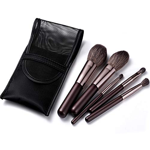 Portable Mini Natural Goat Hair Makeup Brushs Travel Set With Case Purse,6PCS Cosmetic Brushes...