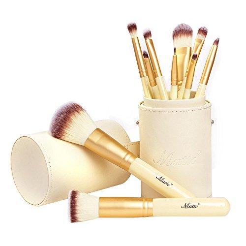 Matto Makeup Brushes 10-Piece Golden Makeup Brush Set with Foundation Powder Mineral Eye Face Make...