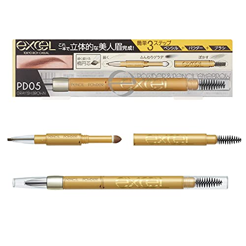 EXCEL Powder & Pencil Eyebrow PD05 gray brown