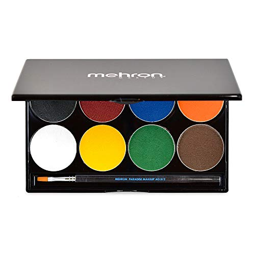 Mehron Makeup Paradise AQ Face & Body Paint 8 Color Palette (Basic) - Face, Body, SFX Makeup...