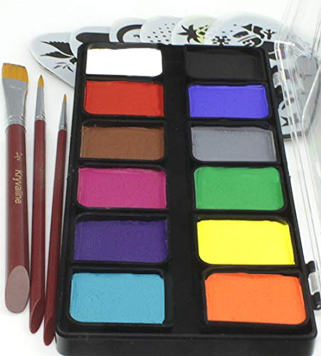 Face Paint Kit Kryvaline Professional 12 Large Square Colors for Split Cake DIY with One Stroke Flat...