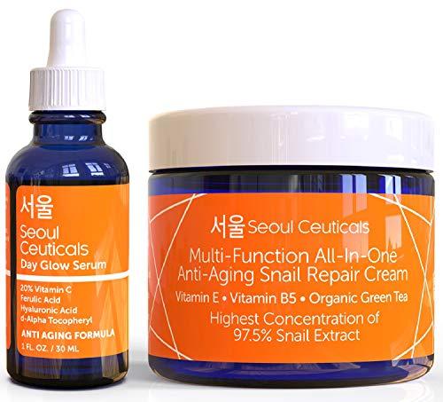 Korean Skin Care Set - Potent Vitamin C Serum with Korean Snail Repair Cream - The Most Potent Duo...