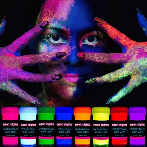 neon nights 8 x UV Body Paint Set   Black Light Glow Makeup Kit   Fluorescent Face Paints for...