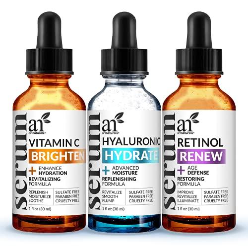 ArtNaturals Anti-Aging-Set with Vitamin-C Retinol and Hyaluronic-Acid - (3 x 1 Fl Oz / 30ml) Serum...