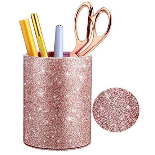 lnndong-Rose Gold PU leather pink pen holder, round flash makeup brush container, desk office...