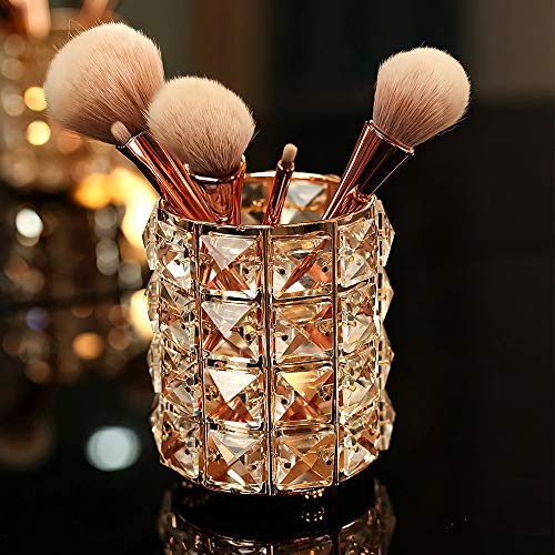 VINCIGANT Handcrafted Crystal Makeup Brush Holder Organizer Bling Personalized Pencil Cup Collection...