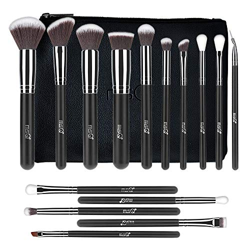 MSQ Makeup Brushes 15pcs Make Up Brush Set with Bag & Soft Synthetic Hair (Foundation Brush, Powder...