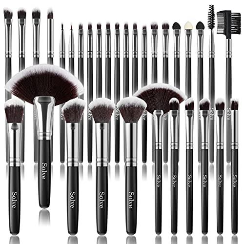 Makeup Brush Set, SOLVE 32 Pieces Professional Makeup Brushes Wooden Handle Cosmetics Brushes...