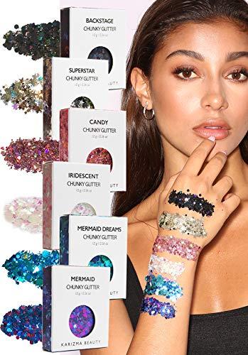 Face Glitter Pack ✮ KARIZMA Beauty ✮ 60g Festival Glitter Cosmetic Chunky Face Body Hair Nails