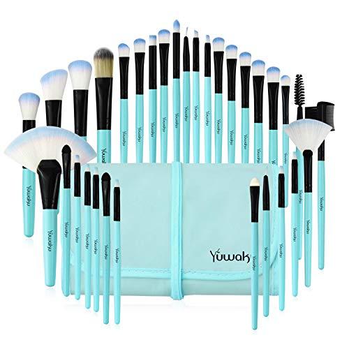 Makeup Brushes Set, 32pcs Blue Premium Cosmetic Make Up Brushes Foundation Blending Blush Concealer...