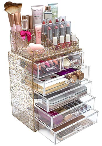 Sorbus Glitter Cosmetic Makeup and Jewelry Storage Case Rose Gold Display - Spacious - Great for...
