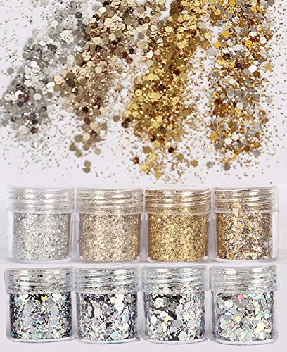 COKOHAPPY 8 Boxes Gold Silver Body Chunky Glitter Makeup, Holographic Flake Cosmetic Sequins...